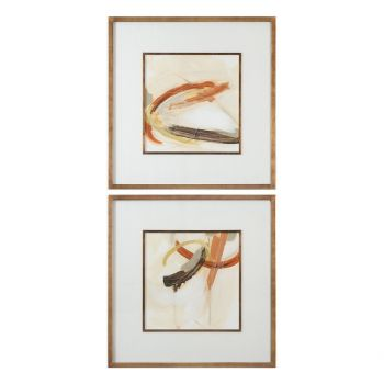 "Uttermost Upstage 34.63"" Abstract Art in Antique Copper Frame (Set of 2)"