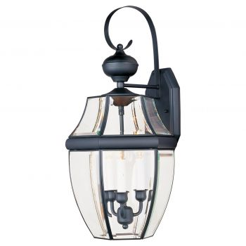 """Maxim South Park 23"""" 3-Light Outdoor Clear Glass Wall Mount in Black"""