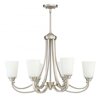 Craftmade Grace 6-Light Linear Chandelier in Brushed Polished Nickel