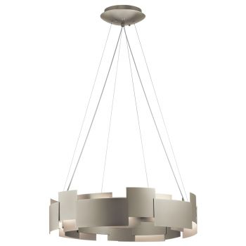 """Kichler Moderne 26.5"""" 2-Light Chandelier Round Pendant in Satin Nickel"""