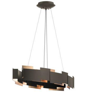"Kichler Moderne 16.25"" 2-Light Chandelier Oval Pendant in Olde Bronze"
