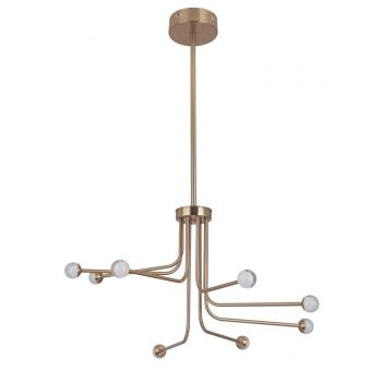 "Craftmade Solis 33"" 8-Light LED Chandelier in Satin Brass"