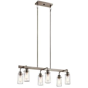 "Kichler Braelyn 34"" 6-Light Linear Chandelier in Classic Pewter"