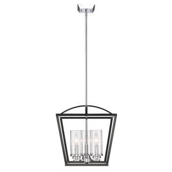 Golden Lighting Mercer 3-Light Pendant in Black with Seeded Glass