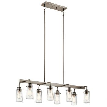 "Kichler Braelyn 42"" 8-Light Linear Chandelier in Classic Pewter"