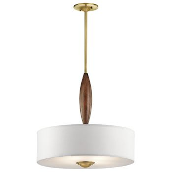 Kichler Lucille 4-Light Shade Pendant in Natural Brass