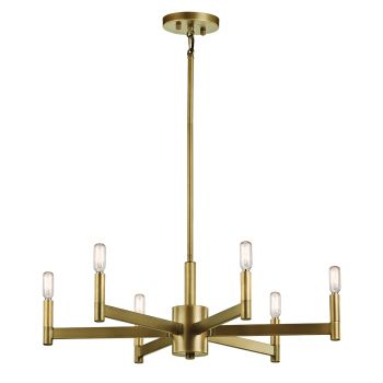 Kichler Erzo 6-Light Medium Chandelier in Natural Brass