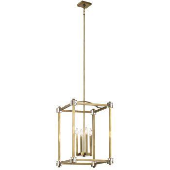 Kichler Cayden 4-Light Foyer Pendant in Natural Brass