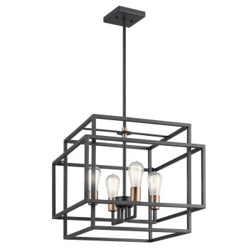 "Kichler Taubert 18"" 4-Light Pendant in Black"
