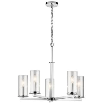 "Kichler Crosby 26.25"" 5-Light Clear Glass Chandelier in Chrome"