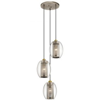 Kichler Asher Three Pendant Ceiling Light in Antique Pewter