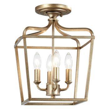 "Minka Lavery Laurel Estate 4-Light 10"" Pendant Light in Brio Gold"