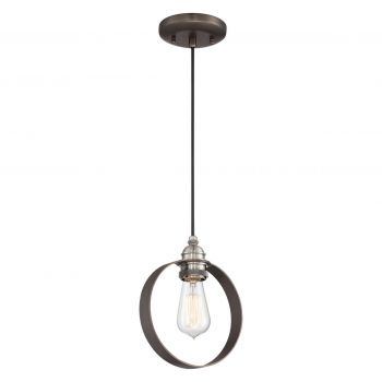 "Minka Lavery Uptown Edison 8"" Pendant Light in Harvard Court Bronze with Pewter"