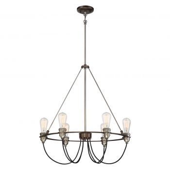 "Minka Lavery Uptown Edison 6-Light 25"" Pendant Light in Harvard Court Bronze with Pewter"