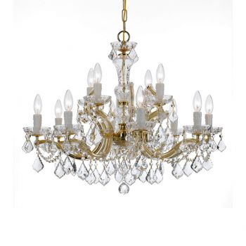 """Crystorama Maria Theresa 12-Light 26"""" Traditional Chandelier in Gold with Clear Hand Cut Crystals"""
