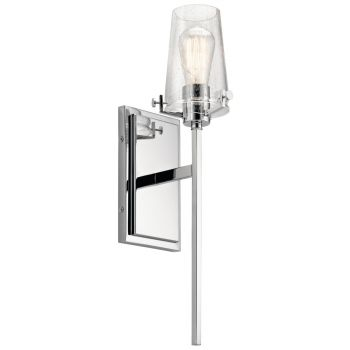 "Kichler 22"" Clear Seeded Wall Sconce in Chrome"