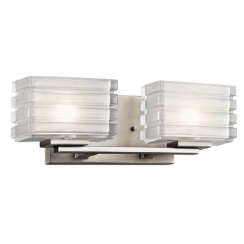 Kichler Bazely 2-Light Wall Mount Bath 2-Arm in Brushed Nickel