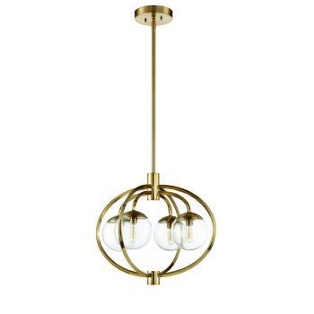 "Craftmade Piltz 22"" 4-Light Chandelier in Satin Brass"