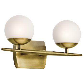Kichler Jasper 2-Light 2-Arm Bath Vanity in Natural Brass