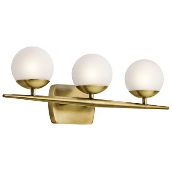 Kichler Jasper 3-Light 3-Arm Bath Vanity in Natural Brass