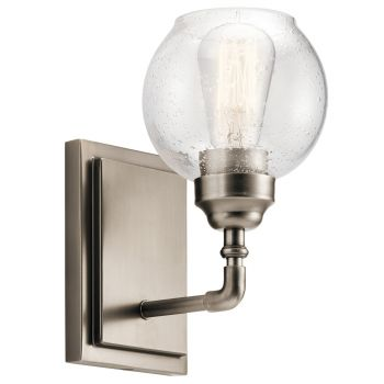 """Kichler Niles 10"""" Clear Seeded Wall Sconce in Antique Pewter"""