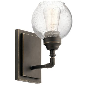 """Kichler Niles 10"""" Clear Seeded Wall Sconce in Olde Bronze"""
