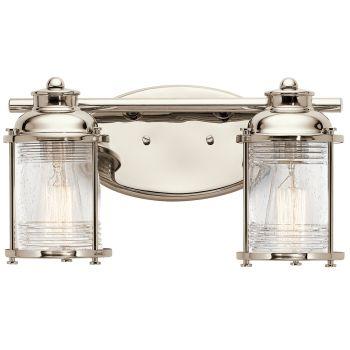 Kichler Ashland Bay 2-Light Bathroom Vanity Light in Polished Nickel
