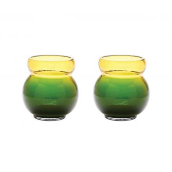 ELK Home Bubble Votive in Green and Yellow