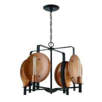 """Craftmade Candela 24.75"""" 4-Light Chandelier in Matte Black/Satin Copper"""