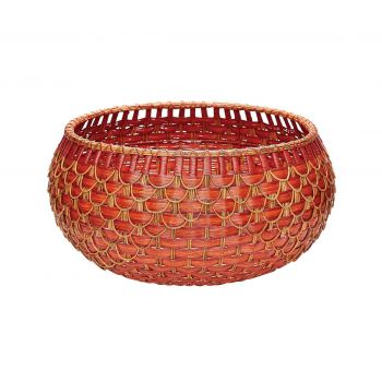 ELK Large Fish Scale Basket In Red And Orange in Orange and Red