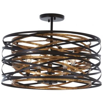 """Minka Lavery Vortic Flow 5-Light 20"""" Ceiling Light in Dark Bronze with Mosaic Gold Inte"""