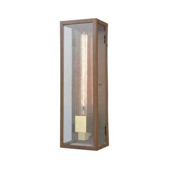 "ELK Mckenzie 16"" Outdoor Wall Light in Dark Wood Print And Brushed Brass"