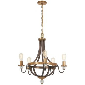 "Minka Lavery Safra 5-Light 25"" Transitional Chandelier in Harvard Court Bronze with Natural"