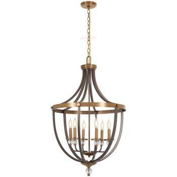 """Minka Lavery Safra 6-Light 23"""" Pendant Light in Harvard Court Bronze with Natural"""