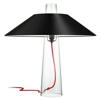 """Sonneman Sky 24"""" Black Opaque Paper Shade Table Lamp in Clear Glass"""
