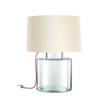 """Sonneman Grasso 27"""" Off-White Linen Shade Table Lamp in Clear Glass"""