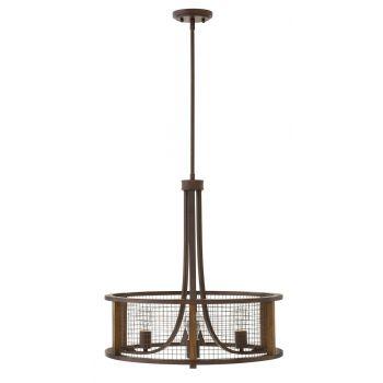 Hinkley Beckett 3-Light Small Pendant Foyer Light in Iron Rust