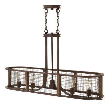 Hinkley Beckett 4-Light Linear Chandelier in Iron Rust