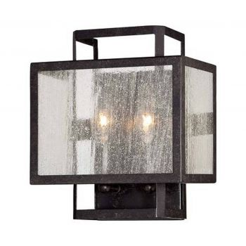 "Minka Lavery Camden Square 2-Light 10"" Wall Sconce in Aged Charcoal"