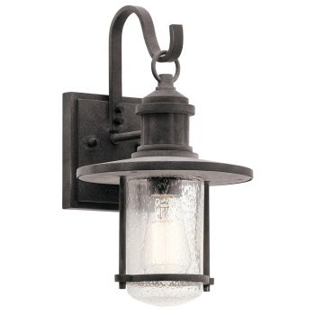 "Kichler Riverwood 14.25"" Outdoor Wall Sconce in Weathered Zinc"