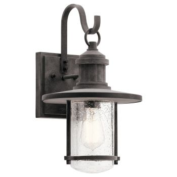 "Kichler Riverwood 16.75"" Outdoor Wall Sconce in Weathered Zinc"