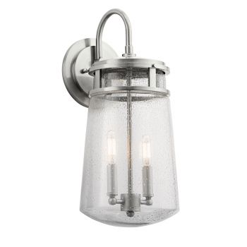 Kichler Lyndon 2-Light Large Outdoor Wall Light in Brushed Aluminum