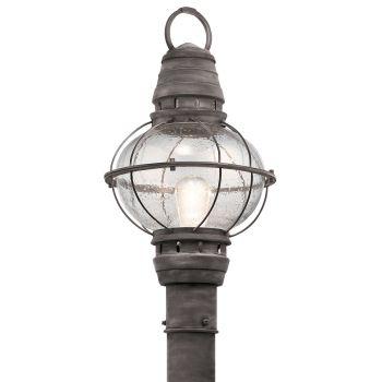 Kichler Bridge Point Outdoor Post Lantern in Weathered Zinc