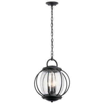 Kichler Vandalia 3-Light Outdoor Hanging Pendant in Textured Black