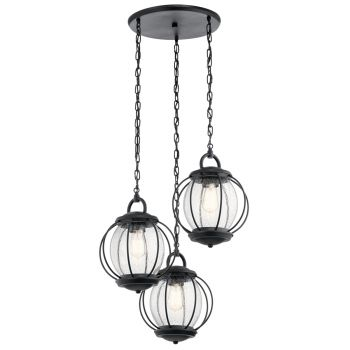 Kichler Vandalia 3-Light Outdoor Chandelier in Textured Black