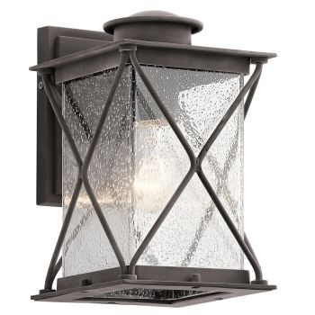 Kichler Argyle Small Outdoor Wall Lantern in Weathered Zinc