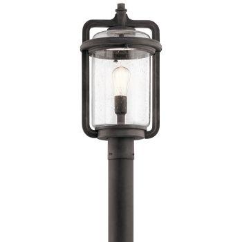 Kichler Andover Outdoor Post Mount 1-Light in Weathered Zinc