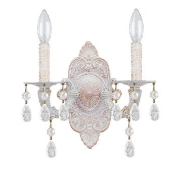 """Crystorama Paris Market 2-Light 12"""" Wall Sconce in Antique White with Clear Swarovski Strass Crystals"""