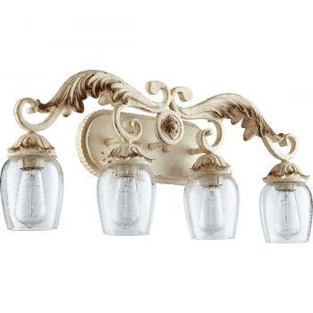 """Quorum Florence 27.5"""" 4-Light Bathroom Vanity Light in Persian White"""