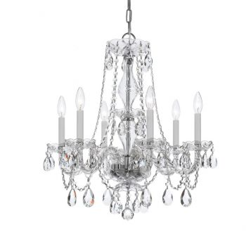 """Crystorama Traditional Crystal 6-Light 25"""" Traditional Chandelier in Polished Chrome with Clear Hand Cut Crystals"""